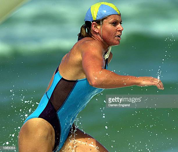 Karla Gilbert of Surfers Paradise Surf Lifesaving Club in action during the women's open Ironwoman competition at round two of the XXXX Premiership...