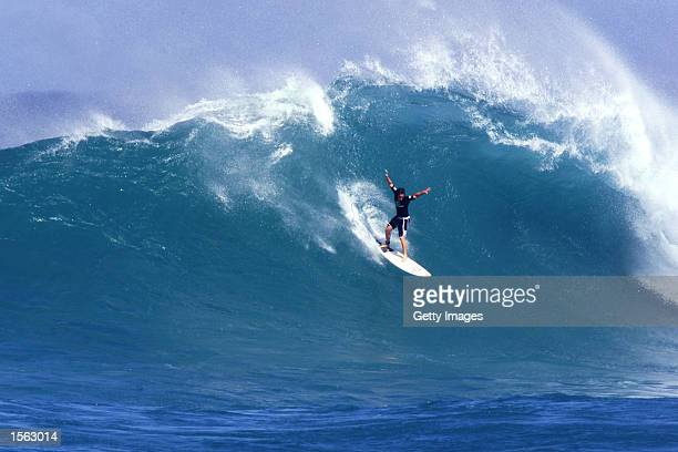 Makua Rothman drops into a 4meter wave at the Rip Curl Cup at Sunset Beach on the North Shore of Oahu today The young Hawaiian advanced to the round...