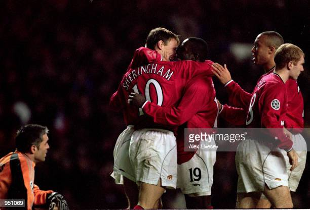 Manchester United celebrate scoring a goal during the UEFA Champions League Group A match against Panathinaikos played at Old Trafford in Manchester...