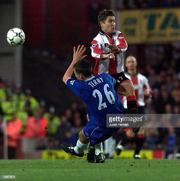 Marian Pahars of Southampton is tackled by John Terry of Chelsea during the FA Carling Premier League match played at The Dell Southampton Mandatory...