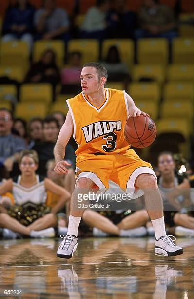 Mike Nelke of the Valparaiso Crusaders moves with the ball during the Great Alaska Shootout against the Anchorage Alaska Seawolves at the Sulivan...