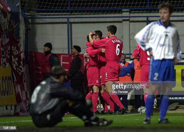 Nick Barmby of Liverpool celebrates scoring during the UEFA Cup Second Round, Second Leg match between Slovan Liberec and Liverpool at the Unisy...