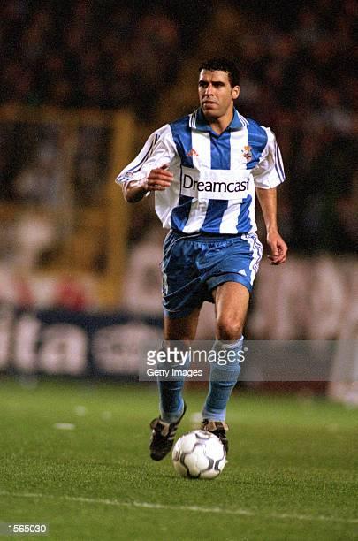 Noureddine Naybet of Deportivo La Coruna in action during the Spanish Primera Liga match against Celta Vigo played at the Estadio Municipal de Riazor...