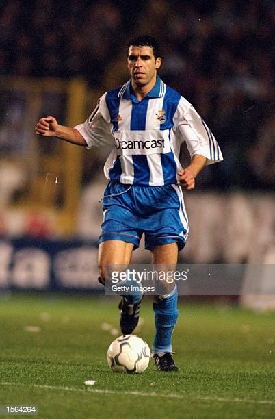 Noureddine Naybet of Deportivo la Coruna on the ball during the Spanish Primera Liga match against Celta Vigo at the Estadio Municipal de Riazor in...