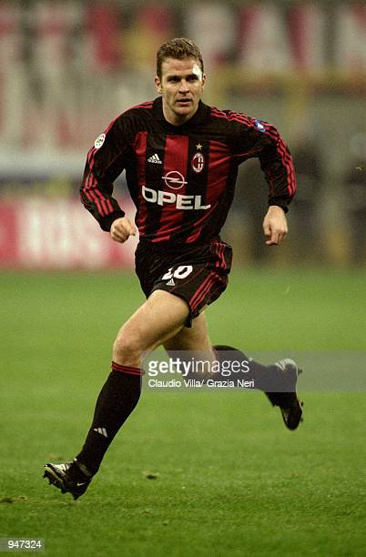 Oliver Bierhoff of AC Milan in action during the Italian Serie A match against Napoli played at the San Siro in Milan Italy AC Milan won the match 10...