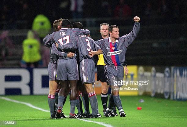 Olympique Lyonnais celebrate during the UEFA Champions League match against Oympiakos at the Stade de Gerland in Lyon France Olympique Lyonnais won...