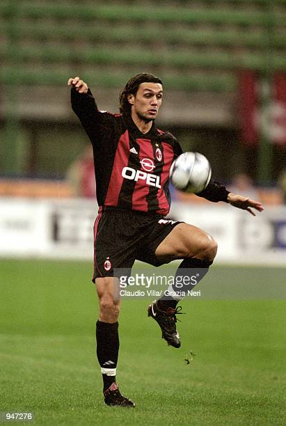 Paolo Maldini of AC Milan in action during the Italian Serie A match against Napoli played at the San Siro in Milan Italy AC Milan won the match 10...