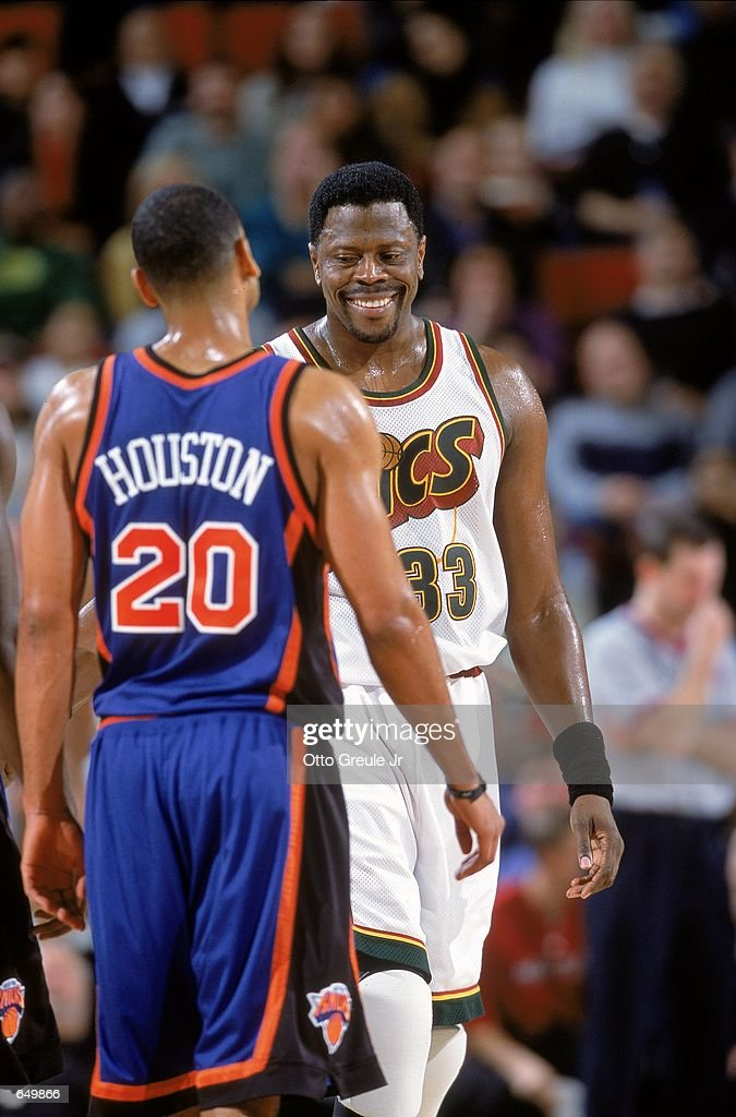 timeless design b9188 36ff2 Patrick Ewing of the Seattle SuperSonics reacts to Allan ...