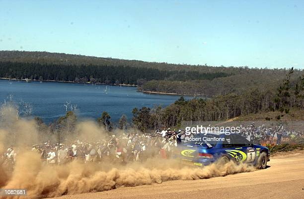 Possum Bourne of New Zealand and Subaru Australia takes his Subaru Impreza through the Sterling West Plantation during leg two of the Telstra Rally...