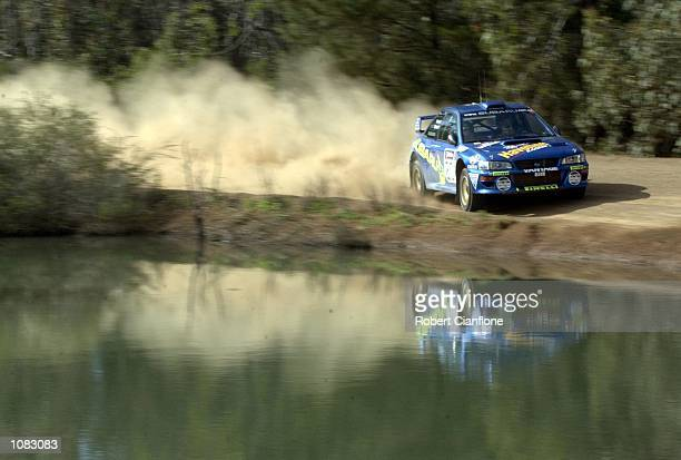 Possum Bourne of New Zealand and Subaru Australia takes his Subaru Impreza through a corner during the Sortico special stage on the final day of...