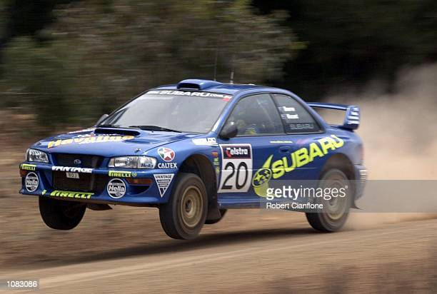 Possum Bourne of New Zealand and Subaru Australia takes his Subaru Impreza over a crest during the Sortico special stage on the final day of Telstra...