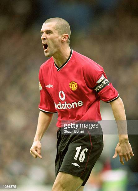 Roy Keane of Manchester United in action during the FA Carling Premier League match against Manchester City played at Maine Road in Manchester...