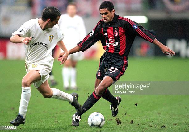 Serginho of AC Milan surges past Gary Kelly of Leeds United during the UEFA Champions League match played at the San Siro in Milan Italy The match...