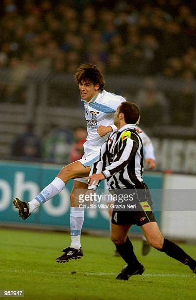 Simone Inzaghi of Lazio wins the ball in the air during the Italian Serie A match against Juventus played at the Stadio Delle Alpi in Turin Italy The...