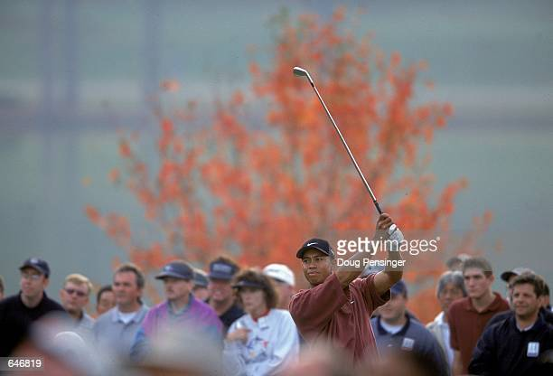 Tiger Woods follows his tee shot during The Tour Championship presented by Southern Company at the East Lake Golf Course in Atlanta GeorgiaMandatory...