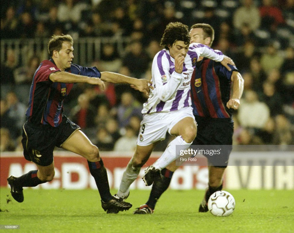 Tote of Valladolid, Andersson (right) and Gabri (left) of Barcelona, in action during the Spanish Primera Leage match played between Barcelona and Real Valladolid in Barcelona Spain. DIGITAL IMAGE Mandatory Credit: Firo Foto/ALLSPORT