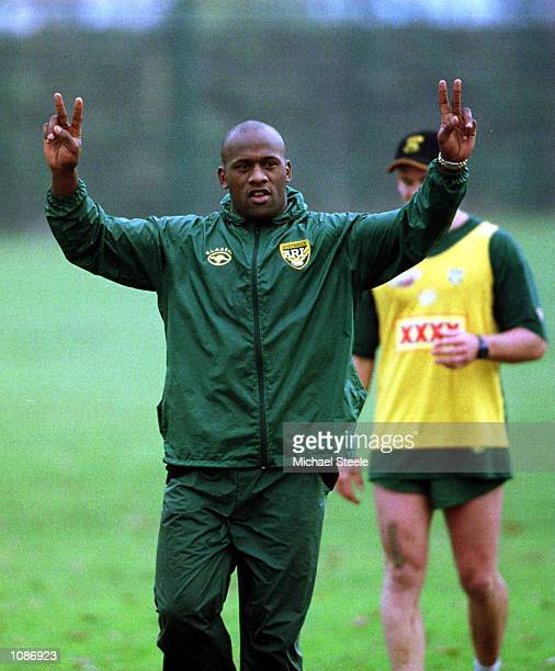 Wendell Sailor of Australia in action during the training session this morning at Kirkstall Leeds as Australia prepare for the Rugby League World Cup...