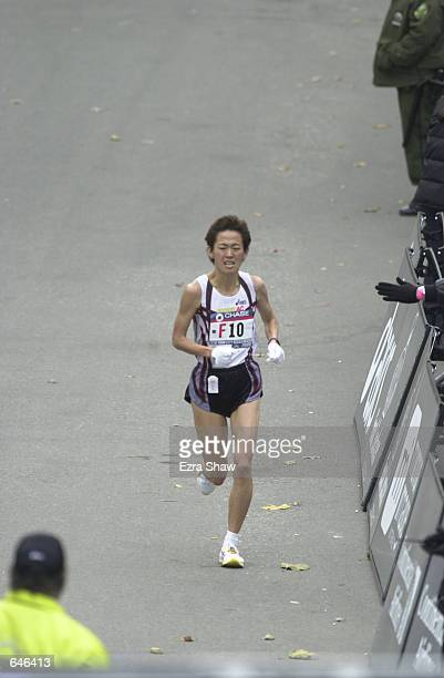 Yuko Arimori of Japan finishes the New York City Marathon in 23112 to take 10th place Mandatory Credit Ezra Shaw/ALLSPORT