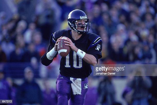 Zak Kustok of the Northwestern Wildcats lines up a pass during the game against the Michigan Wolverines at the Ryan Field in Evanston Illinois The...