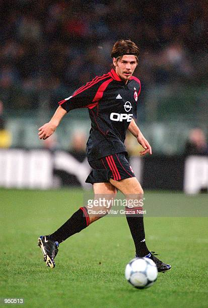 Zvonimir Boban of AC Milan runs with the ball during the Italian Serie A match against Lazio played at the Stadio Olimpico in Rome Italy The match...