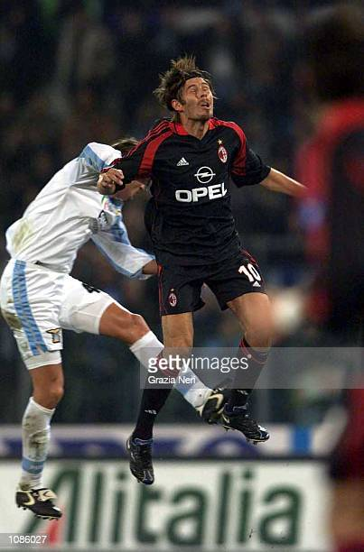 Zvonimir Boban of Milan and Dino Baggio of Lazio in action during the Serie A match between Lazio v Milan played at the Olympic Stadium, Rome, Italy....