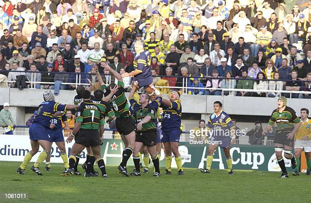 A battle for the lineout ball during the Heineken Cup match between Montferrand and Northampton Saints at the Parc des Sports Marcel Michelin...