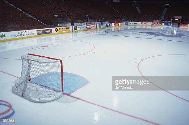 A general view of the ice rink taken before the game between the Vancouver Canucks and the Edmonton Oilers at the GM Palace in Vancouver Canada The...
