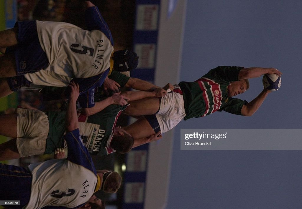 Adam Balding of Leicester in line-out action against Leeds in the Zurich Premiership Rugby match between Leeds Tykes and Leicester Tigers at Headingley, Leeds. DIGITAL IMAGE. Mandatory Credit: Clive Brunskill/ALLSPORT