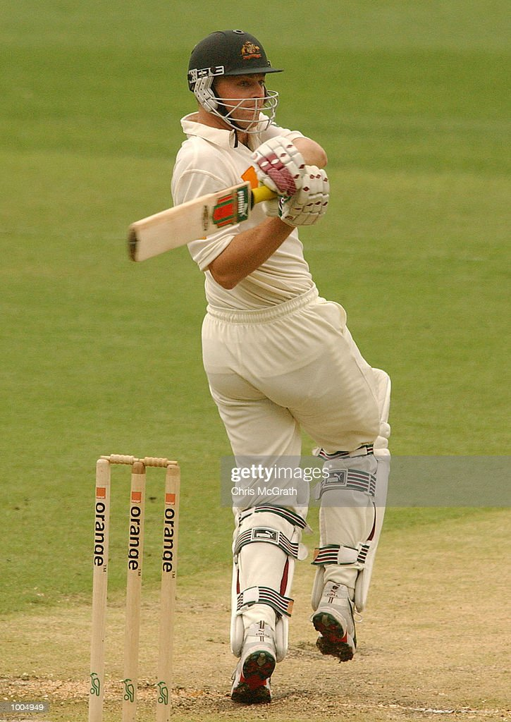 Adam Gilchrist in action during day three of the first cricket test between Australia and New Zealand held at the Gabba, Brisbane, Australia, DIGITAL IMAGE Mandatory Credit: Chris McGrath/ALLSPORT