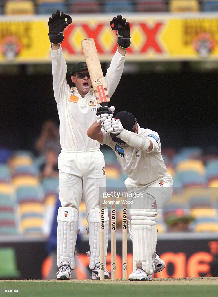 Adam Gilchrist of Australia appeals for lbw during the fourth day of play in the first Test between Australia and New Zealand being played at the Gabba, Brisbane, Australia. DIGITAL IMAGE. Mandatory Credit: Jonathan Wood/ALLSPORT