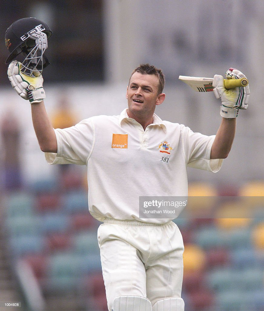 Adam Gilchrist of Australia celebrates a test century during the third day of play in the first Test between Australia and New Zealand being played at the Gabba, Brisbane, Australia. DIGITAL IMAGE. Mandatory Credit: Jonathan Wood/ALLSPORT