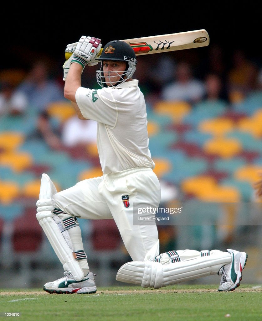 Adam Gilchrist of Australia hits four runs against New Zealand during day two of the first Cricket test between Australia and New Zealand played at the Gabba in Brisbane, Australia. DIGITAL IMAGE. Mandatory Credit: Darren England/ALLSPORT