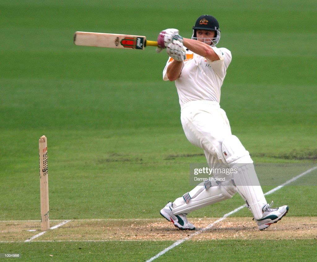Adam Gilchrist of Australia hits four runs against New Zealand during day three of the first Cricket test between Australia and New Zealand played at the Gabba in Brisbane, Australia. DIGITAL IMAGE. Mandatory Credit: Darren England/ALLSPORT