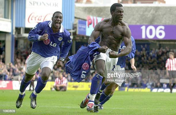 Ade Akinbiyi of Leicester celebrates Trevor Benjamin after scoring the winning goal during the Leicester City v Sunderland Barclaycard Premiership...