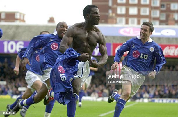 Ade Akinbiyi of Leicester celebrates with Andrew Impey and Muzzy Izzet after scoring the winning goal during the Leicester City v Sunderland...