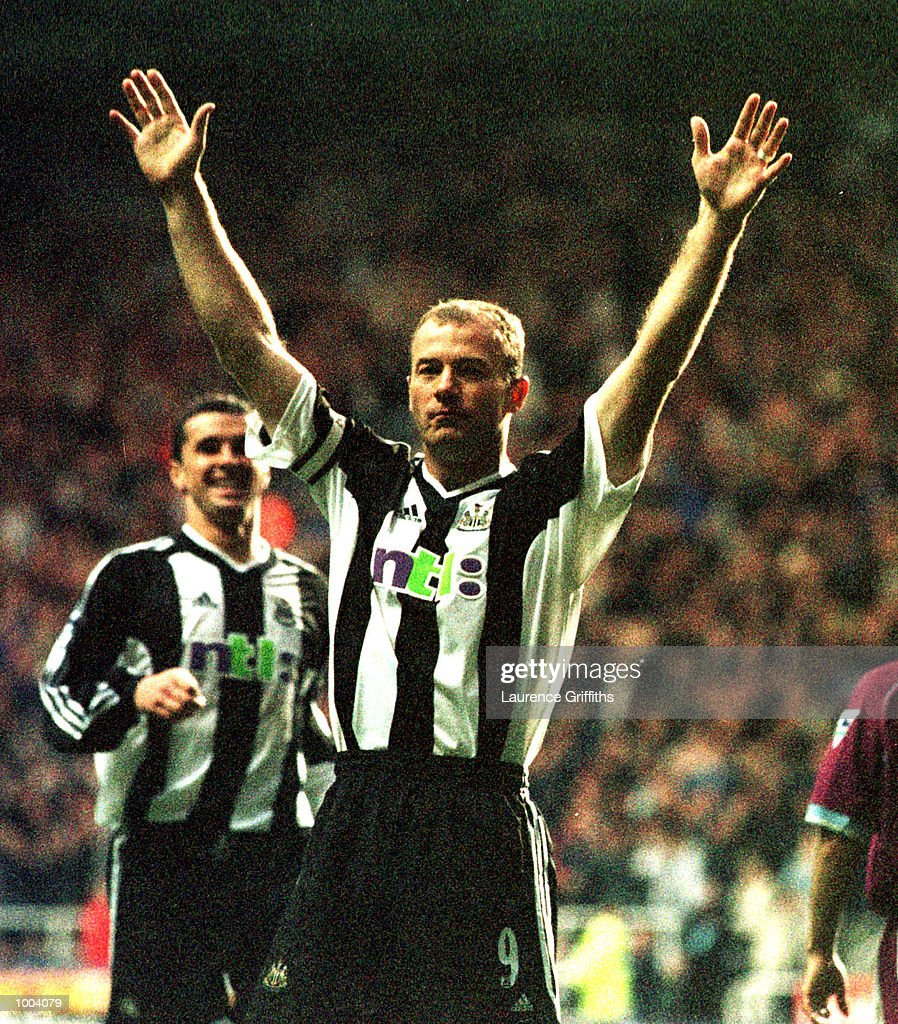 Alan Shearer of Newcastle celebrates scoring during the match between Newcastle United and Aston Villa in the FA Barclaycard Premiership at St James Park, Newcastle. Mandatory Credit: Laurence Griffiths/ALLSPORT