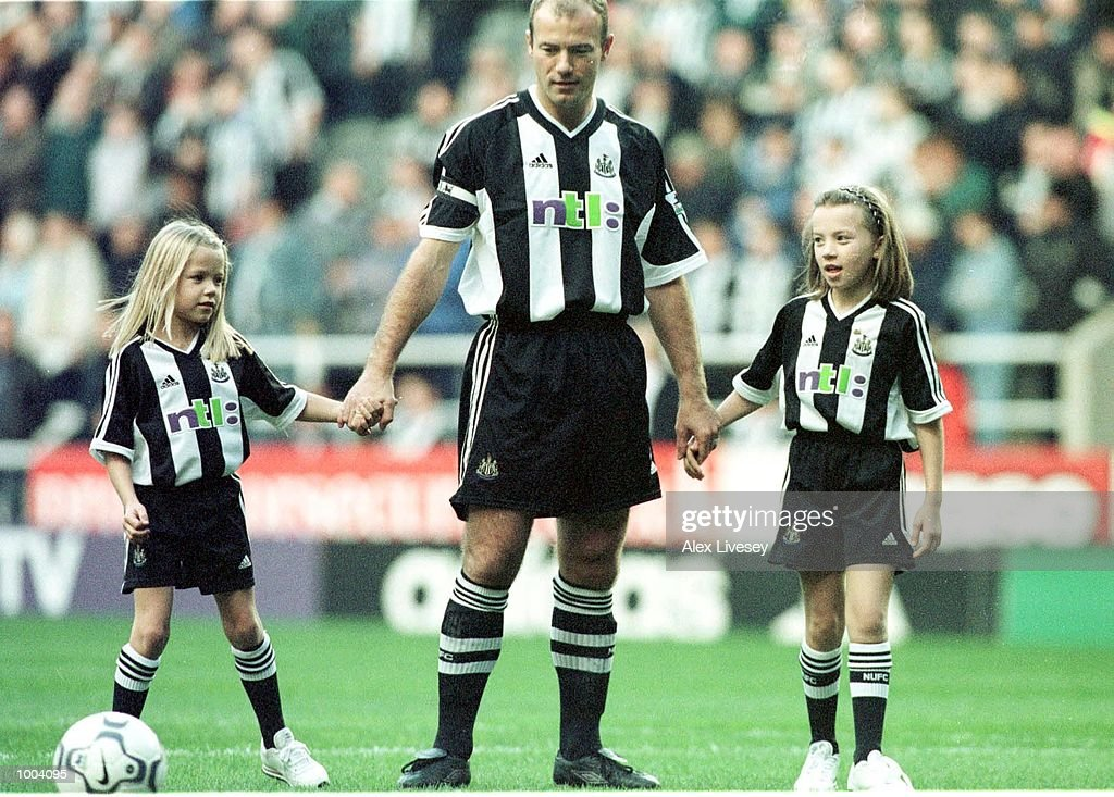 Alan Shearer of Newcastle with his daughters before the match between Newcastle United and Aston Villa in the FA Barclaycard Premiership at St James Park, Newcastle. Mandatory Credit: Alex Livesey/ALLSPORT