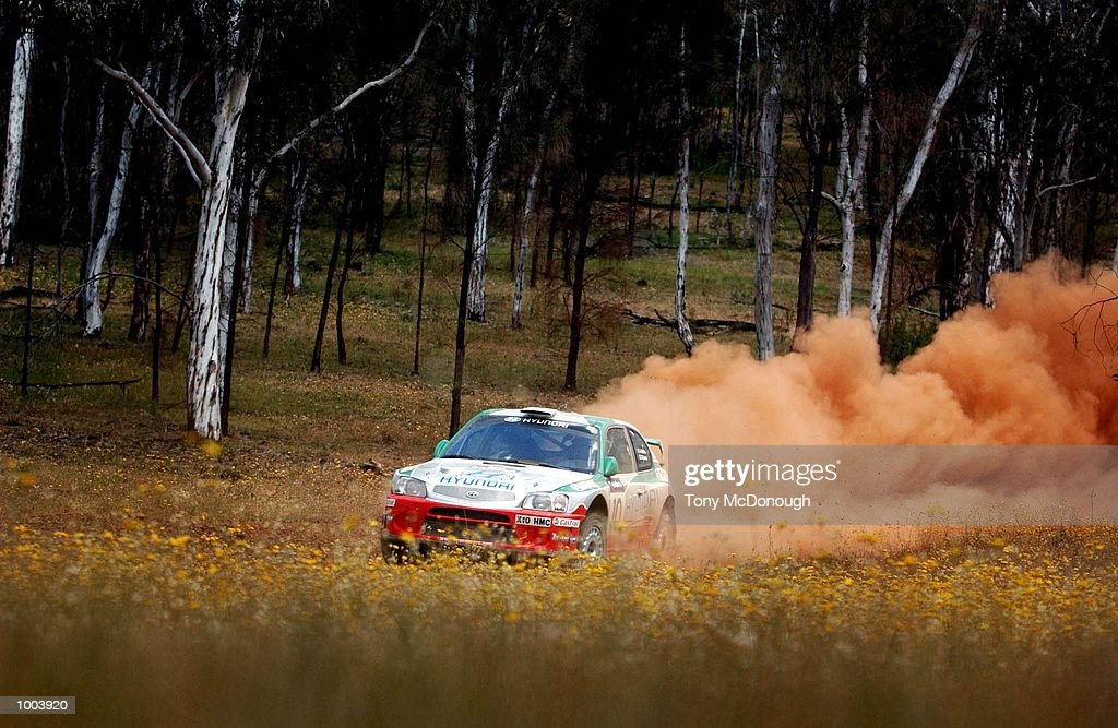 Alistair McRae and co-driver, David Senior put their Hyundai Accent WRC 2 to the test on the outback bush tracks around Mundaring during the 19.98 km Special Stage Flynn's Short of Leg 1 of the Telstra Rally Australia at Perth, Australia.DIGITAL IMAGE Mandatory Credit: Tony McDonough/ALLSPORT