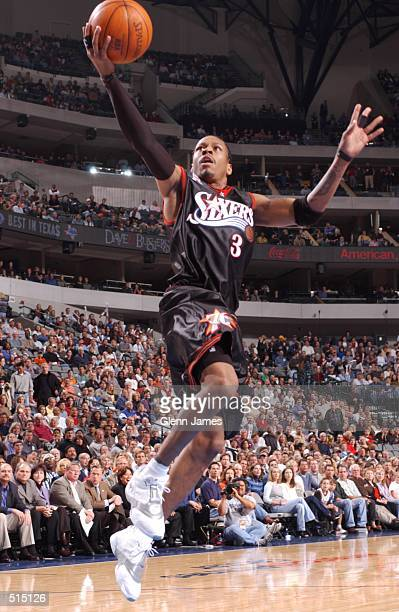 Allen Iverson of the Philadelphia 76ers goes to the basket during their game against the Dallas Mavericks at American Airlines Center in Dallas TX...