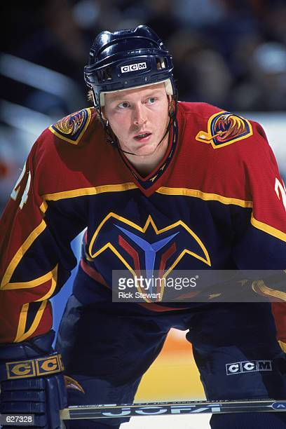 Andreas Karlsson of the Nashville Thrashers looks on the ice during the game against the Buffalo Sabres at the HSBC Arena in Buffalo, New York. The...