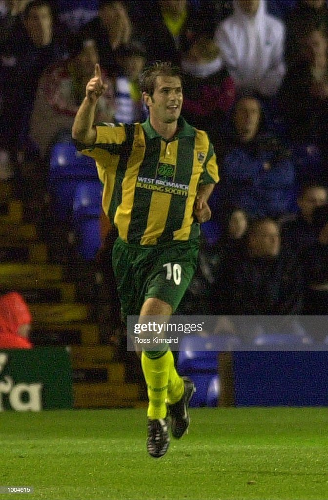 Andy Johnson of WBA celebrates after scoring the opening goal during the Nationwide Division One match between Birmingham City v West Bromwich Albion at St Andrews, Birmingham. DIGITAL IMAGE. Mandatory Credit: Ross Kinnaird/ALLSPORT