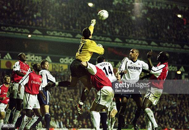 Arsenal Goalkeeper Richard Wright punches clear during the FA Barclaycard Premiership match between Tottenham Hotspur and Arsenal played at White...