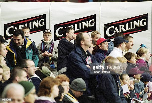 Aston Villa fans cheer their team on during the FA Barclaycard Premiership match between Aston Villa and Middlesbrough played at Villa Park in...