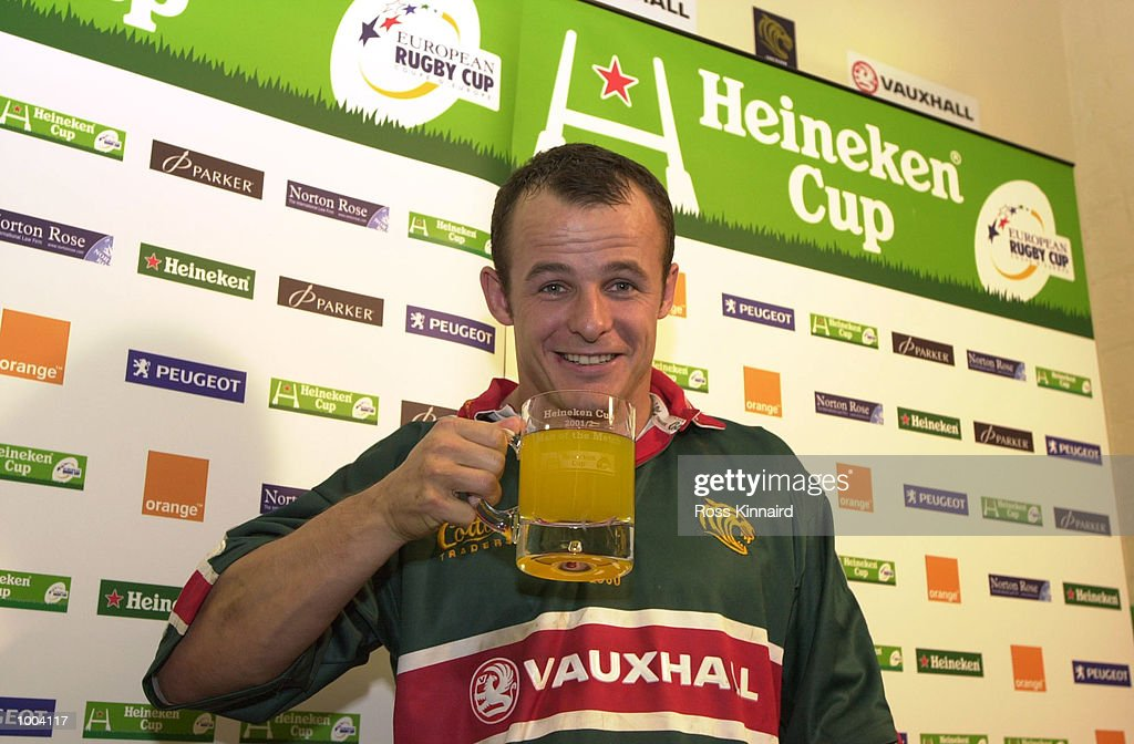 Austin Healey of Leicester with his Heineken Man of the Match trophy after the Leicester Tigers v Perpignan Heineken Cup match at Welford Road, Leicester. DIGITAL IMAGE. Mandatory Credit: Ross Kinnaird/ALLSPORT