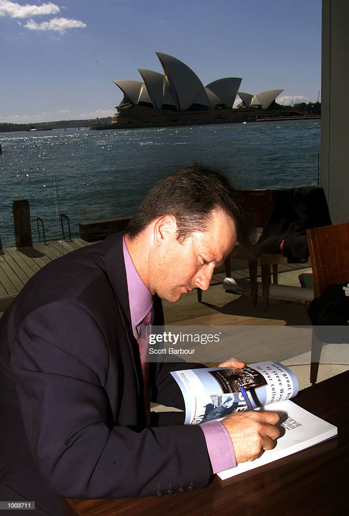 Australian cricket captain Steve Waugh signs copies of his book during the launch of his new book ''Ashes Diary 2001''. The book launch was held at the Park Hyatt in Sydney, Australia. DIGITAL IMAGE. Mandatory Credit: Scott Barbour/ALLSPORT