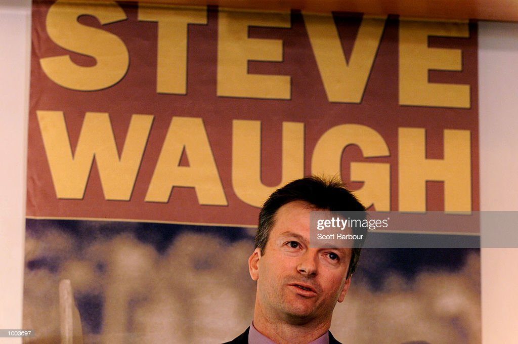 Australian cricket captain Steve Waugh speaks during the launch of his new book ''Ashes Diary 2001''. The book launch was held at the Park Hyatt in Sydney, Australia. DIGITAL IMAGE. Mandatory Credit: Scott Barbour/ALLSPORT