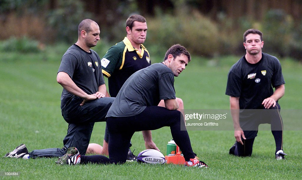Brad Fittler (foreground) of Australia watches his team during their first training session at Kirkstall Rugby ground in Leeds. DIGITAL IMAGE. Mandatory Credit: Laurence Griffiths/ALLSPORT