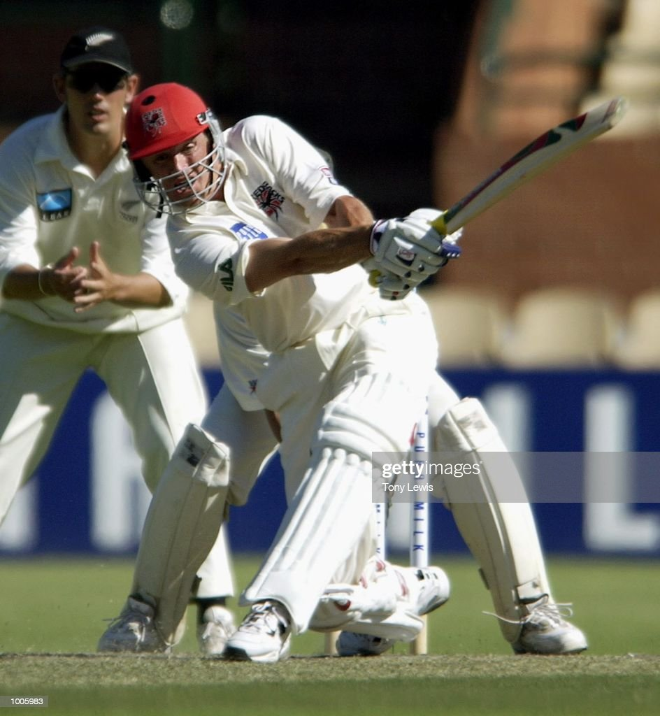 Brad Young of South Australia hits Glen Sulzberger for 6 in the match between South Australia and New Zealand played at the Adelaide Oval in Adelaide, Australia. DIGITAL IMAGE Mandatory Credit: Tony Lewis/ALLSPORT