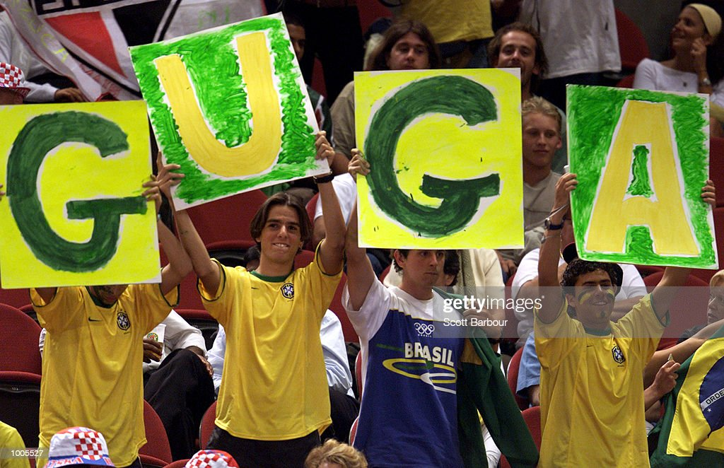 Brazillian fans during the Gustavo Kuerten of Brazil vs Goran Ivanisevic of Croatia match during day two of the Tennis Masters Cup held at the Sydney Superdome in Sydney, Australia. DIGITAL IMAGE. Mandatory Credit: Scott Barbour/ALLSPORT