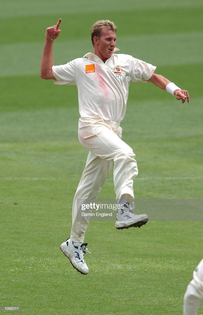 Brett Lee of Australia celebrates getting the wicket of Craig McMillan of New Zealand for 45 runs during day four of the first Cricket test between Australia and New Zealand played at the Gabba in Brisbane, Australia. DIGITAL IMAGE. Mandatory Credit: Darren England/ALLSPORT